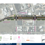 Rendering of the proposed improvements between Girard and Cecil B. Moore Ave. The location of cross sections and perspective views are noted on plan.