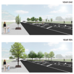 Image is from the eastern curbline looking southbound towards the vacant lot of 1700 N. American St. This perspective illustrates the proposed green stormwater infrastructure (GSI) bio-swale.